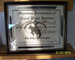 Wyoming Association of Rural Water Systems Award with the Wyoming Bucking Horse