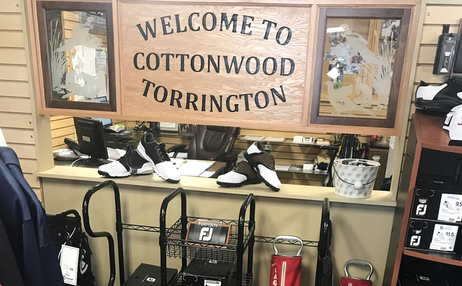 Welcome to Cottonwood Torrington Sign in Golf Shop